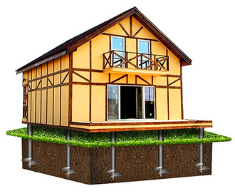 Фундамент для дома 6х6м (16 свай Ø89)